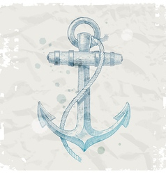 Hand drawn anchor on grunge paper background vector image