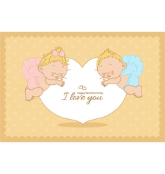 I love you card with cupids horizontal vector image vector image
