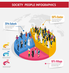infographic society isometric background with vector image vector image