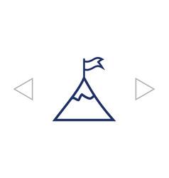 Mountain peak with flag icon vector