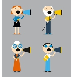 People are talking into a megaphone vector image vector image