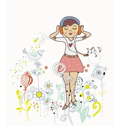 Poster of girl listening to the music with flowers vector image