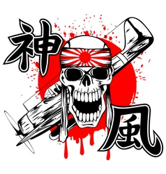 Skull with band and airplane vector