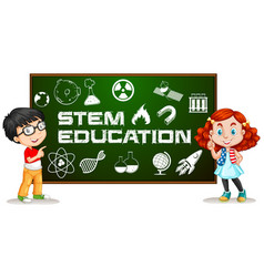 Two kids with stem education on board vector