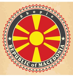 Vintage label cards of macedonia flag vector