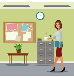Woman buisness office table cabinet file notice vector