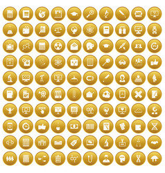 100 analytics icons set gold vector
