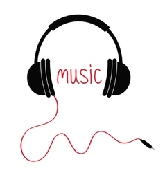 Headphones red cord and word music card flat vector