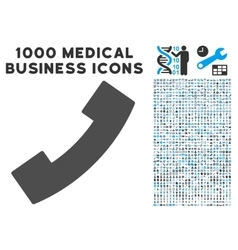 Phone receiver icon with 1000 medical business vector