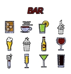 Bar flat icons set vector