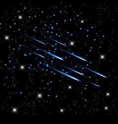 Meteor in the night sky stars background vector