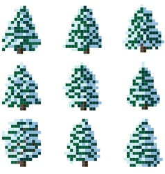 Set of pixel winter snowy tree vector