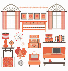 Living room furniture and accessories in coral red vector