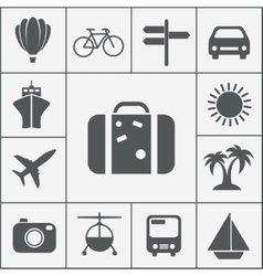Silhouette travel icon set vector
