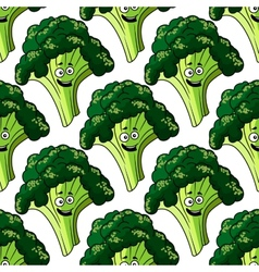 Head of fresh healthy broccoli seamless pattern vector