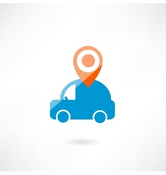 Car with navigation icon vector