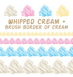 Whipped cream and border colorful brush set vector