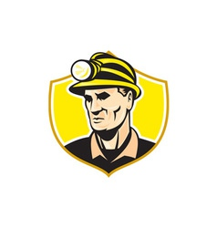 Miner with hardhat helmet shield retro vector