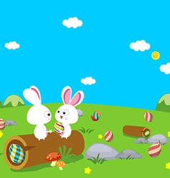 Easter bunny eggs vector