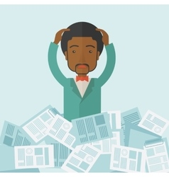 Black guy with paper works around him vector