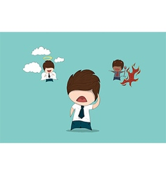 Businessman with evil and angel drawing by hand vector