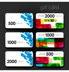 Gift coupon discount card template with abstract vector