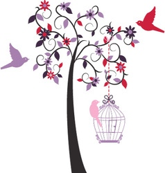 Love tree ad love bird vector