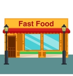 Fast food shop store front flat style vector