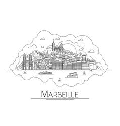 line art Marseille France travel icon vector image