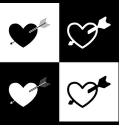 arrow heart sign black and white icons vector image