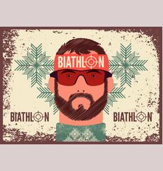 Biathlon typographical vintage grunge poster vector