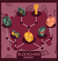 Blockchain isometric concept vector