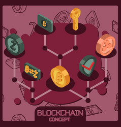 blockchain isometric concept vector image