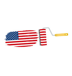 brush stroke with usa national flag isolated on a vector image vector image
