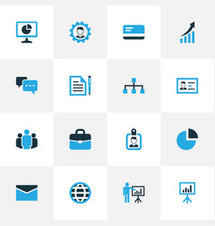 business colorful icons set collection of badge vector image