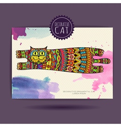 Card with decorative cat and watercolor stain vector image vector image