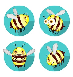 Cartoon set flat bees isolated on white vector