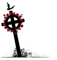 crucifix raven scull and roses vector image vector image
