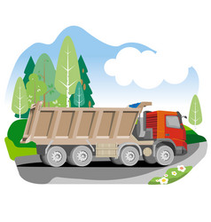 drawing red tipper dump truck vector image