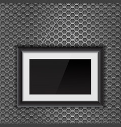 Empty black photo frame on metal perforated vector