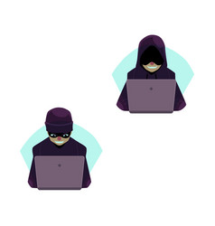 flat hackers with laptop set isolated vector image vector image