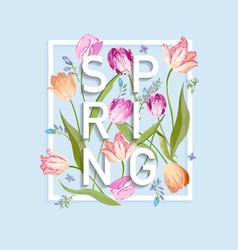 floral spring design for card sale banner poster vector image