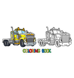 Funny heavy truck with eyes coloring book vector