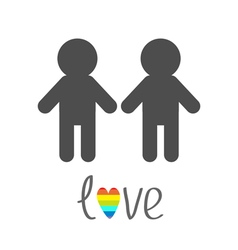 Gay marriage pride symbol two man silhouette lgbt vector