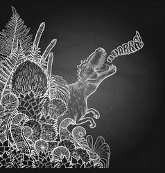 Graphic dinosaur and prehistoric plants vector