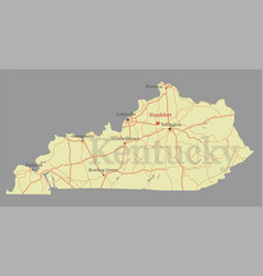 kentucky accurate exact detailed state map with vector image