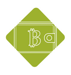 Label bitcoin symbon in the wallet to save money vector