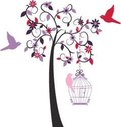 Love tree ad love bird vector