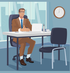 Manager gesturing his hands to chair for visitors vector