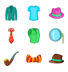 men accessories icons set cartoon style vector image
